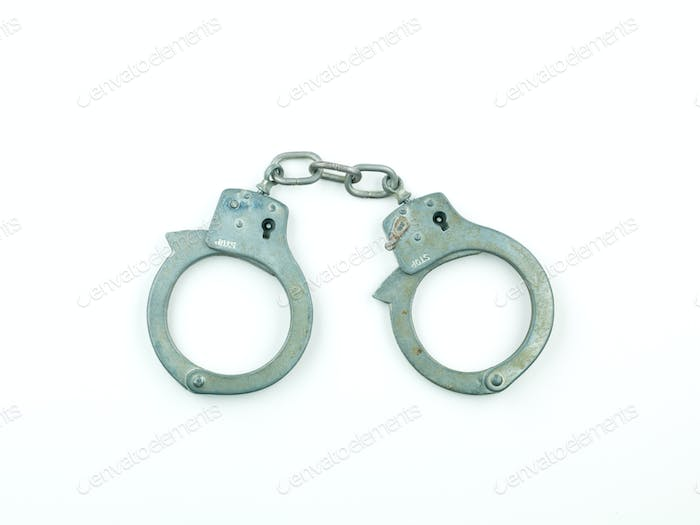 a set of silver handcuffs