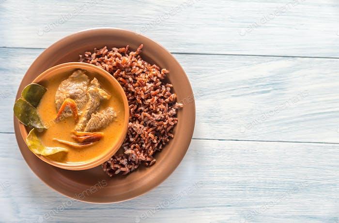 Bowl of thai panang curry