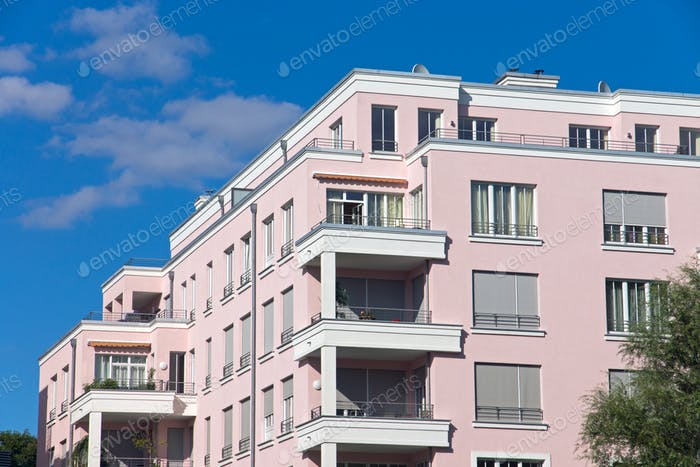 Beautiful pink apartment house