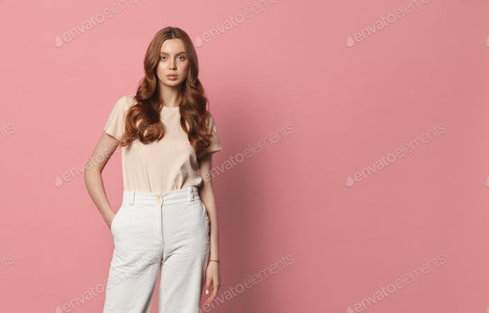 casual clothing young female on pink background