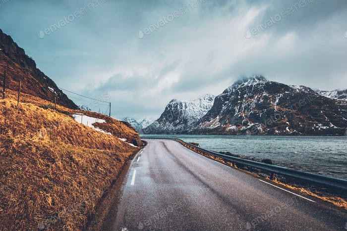 Road in Norway along the fjord
