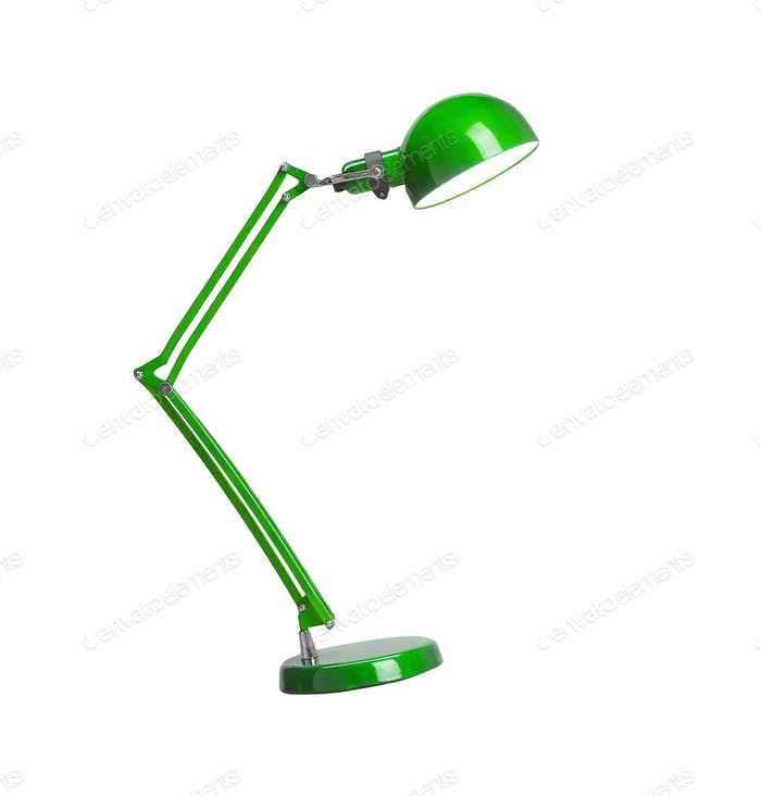Vintage green desk lamp isolated
