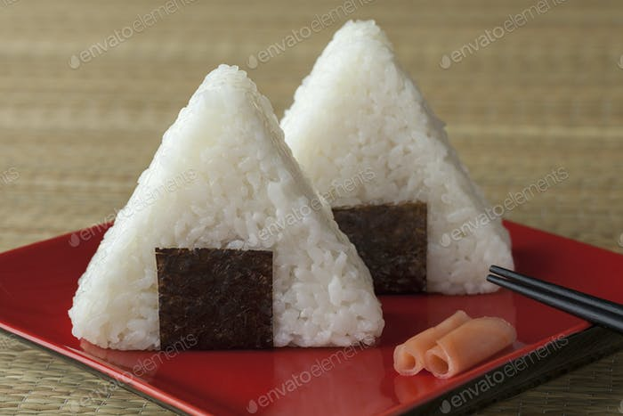 Fresh made Japanese triangular onigiri