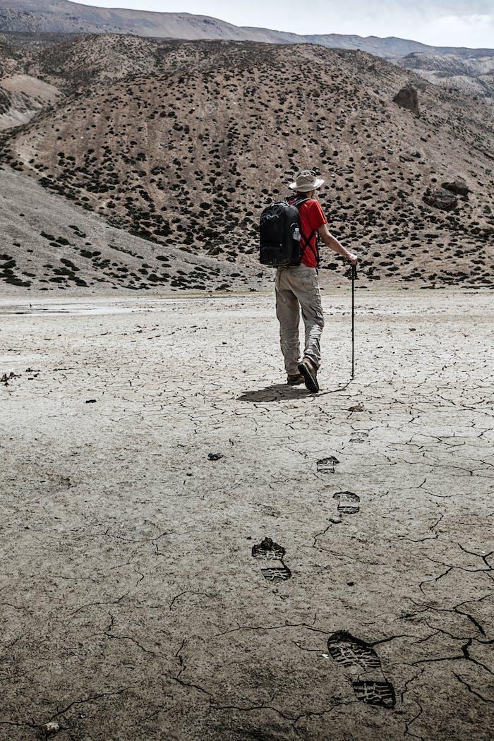 Mountaineer trekker walking in Himalayas