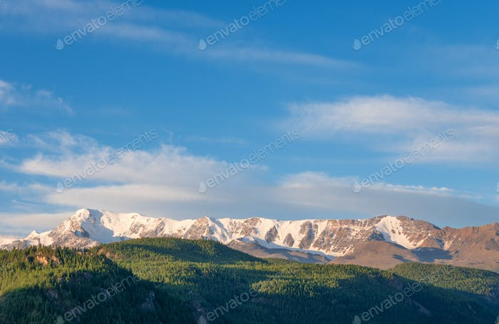 Beautiful winter landscape with snow covered mountain peaks
