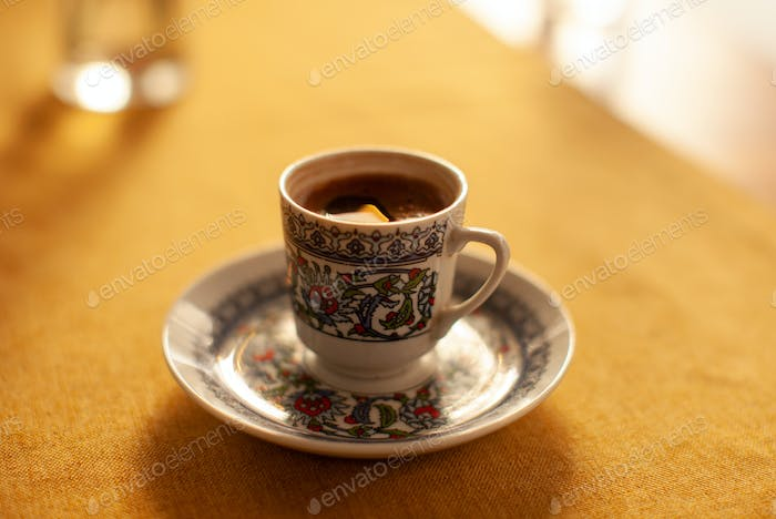 turkish coffee in orient eastern cup