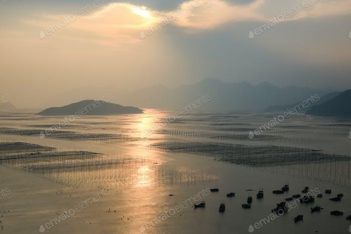 xiapu shoals landscape in sunset