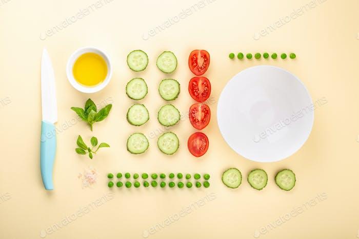 Zutaten für die Herstellung von Salat