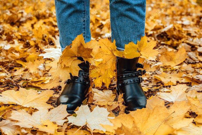 Happy fall, hello autumn. Female legs in boots on the autumn leaves. Autumn shoes. Female legs in