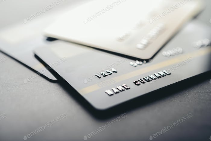 Credit cards that are stacked on the floor,selective focus