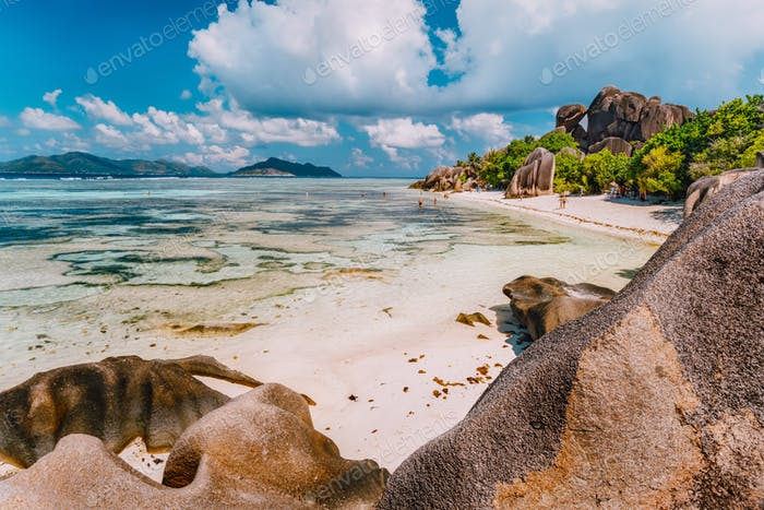 Anse Source d'Argent - exotic paradise beach on island La Digue at Seychelles