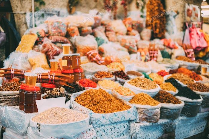 Tbilisi, Georgia. Market Bazar Abundant Counter Of Dried Fruit A
