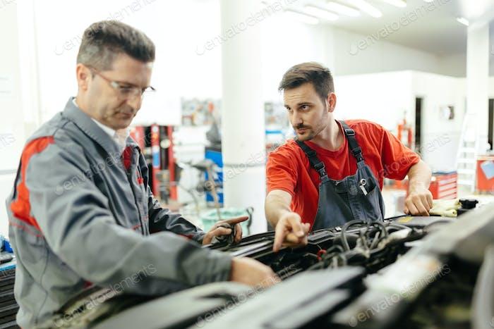 Car mechanics fixing car