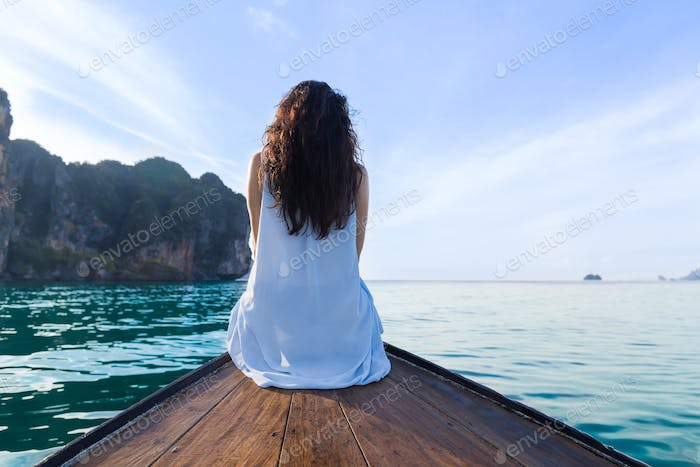 Attractive Young Caucasian Woman Sit On Boat Back Rear View, Girl Swim Ocean Sea Water Holiday