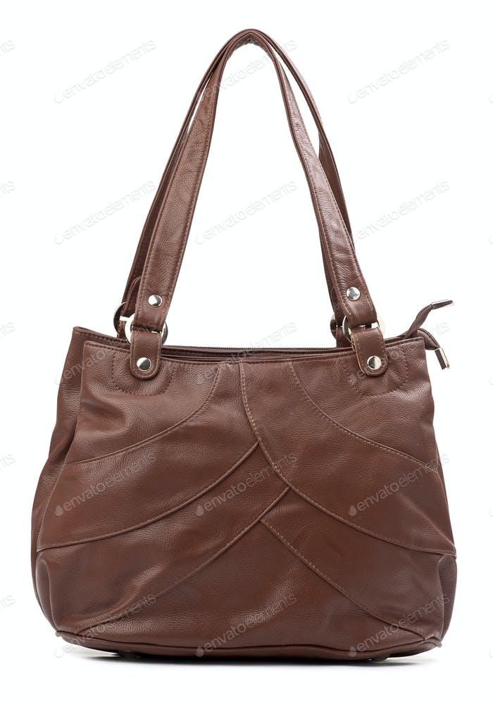 Brown female bag isolated over white