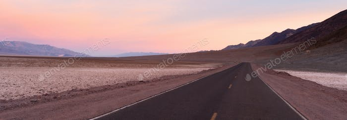 Long Road Sunrise Dawn Badwater Basin Death Valley