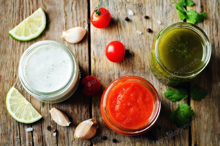Variation von Saucen für Fleisch, Geflügel oder Fisch. Tomate, Koriander