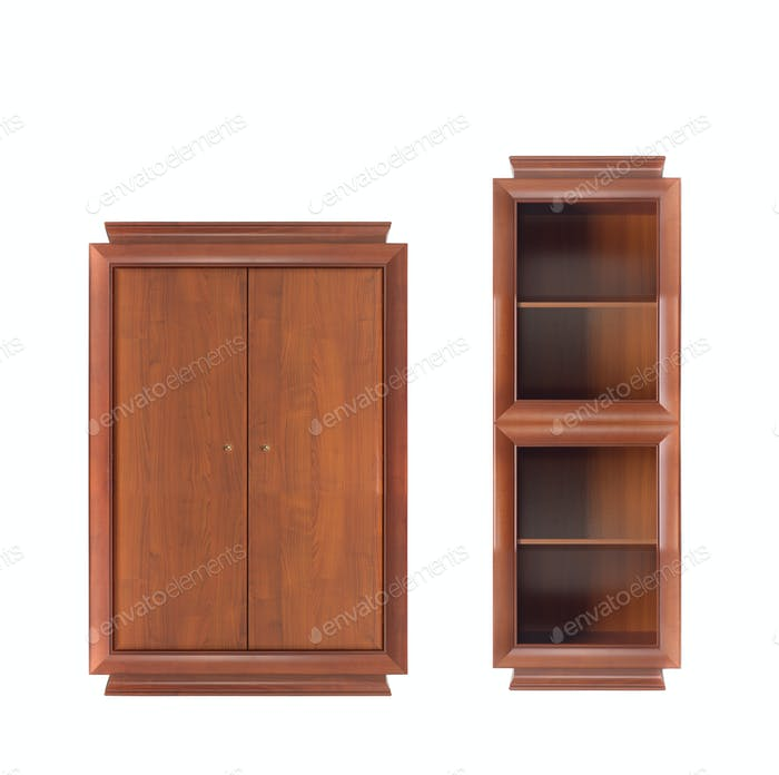 bookcase with wooden wardrobe