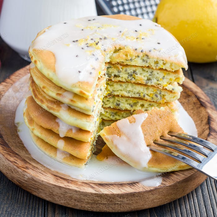 Lemon and chia seed pancakes with citrus glaze, square