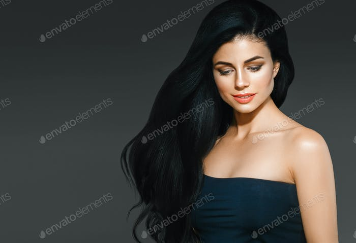 Beauty Woman long black hair. Beautiful Female model Girl with P