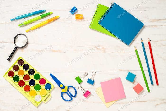 School and office sstationery on white background