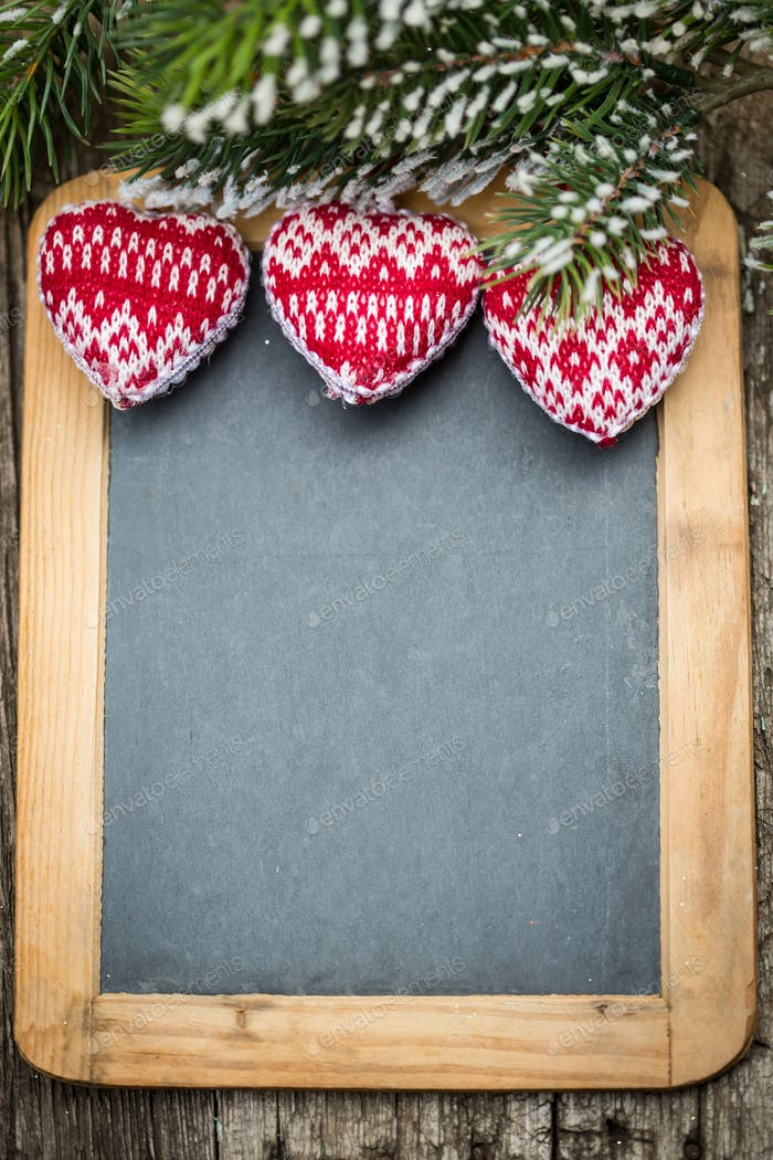 Thumbnail for Christmas tree decorations border on vintage wooden blackboard