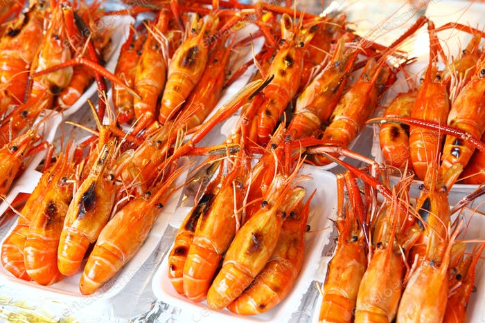 Roasted shrimp in food market