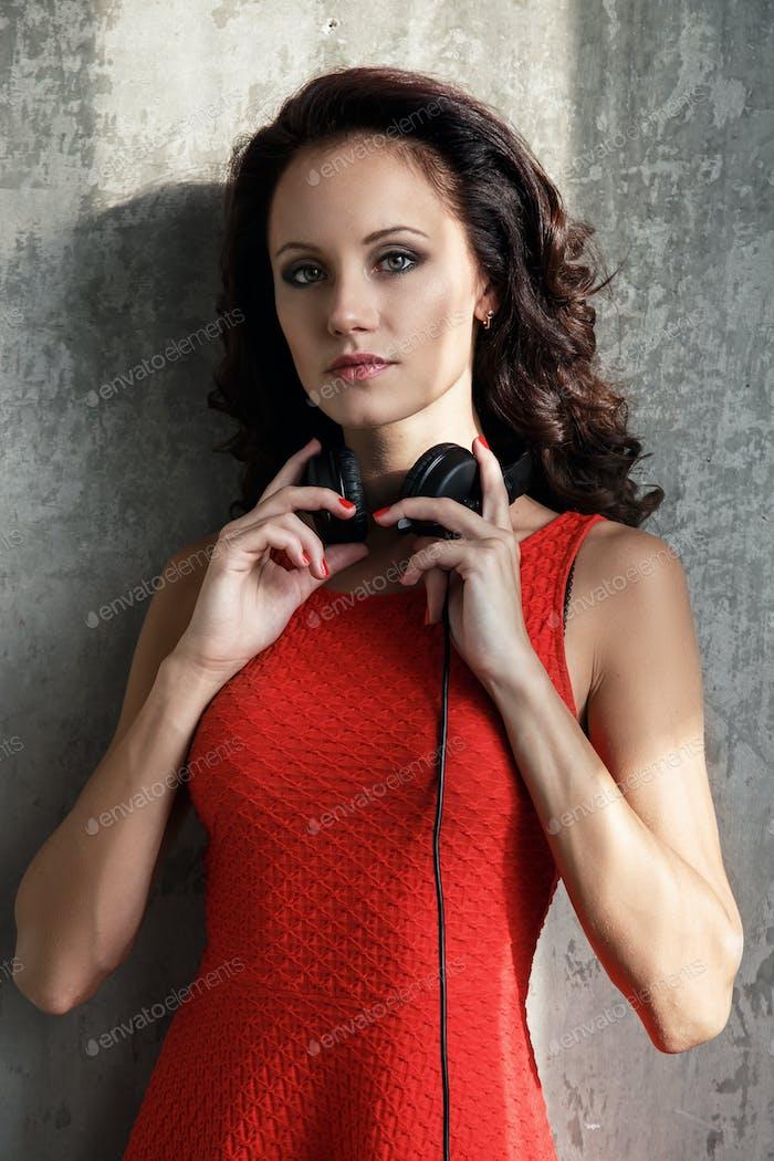 Dj, music. Beautiful girl with headphones