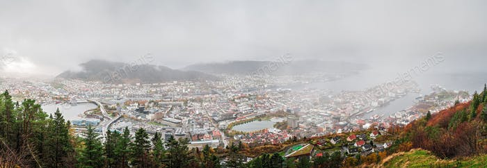 Panoramic view of Bergen town from the top of Mount Floyen