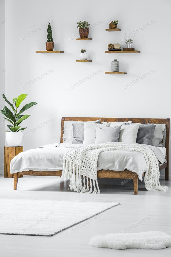 Pillows And Blanket On Bed In Japanese Bedroom Interior With Sto Best Simple White Bedroom Interior