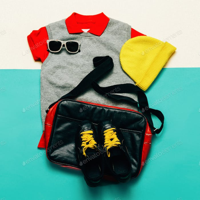 Urban sports style fashion clothing and accessories. Handbags, c