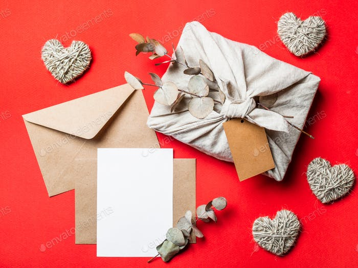 Zero waste Valentine's Day concept, mock up