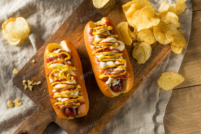 Homemade Colombian Hot Dogs with Chips