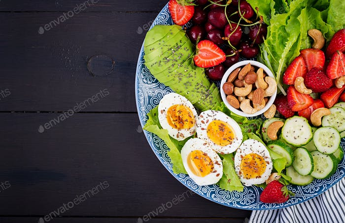 Plate with a paleo diet food. Boiled eggs, avocado, cucumber, nuts, cherry and strawberries