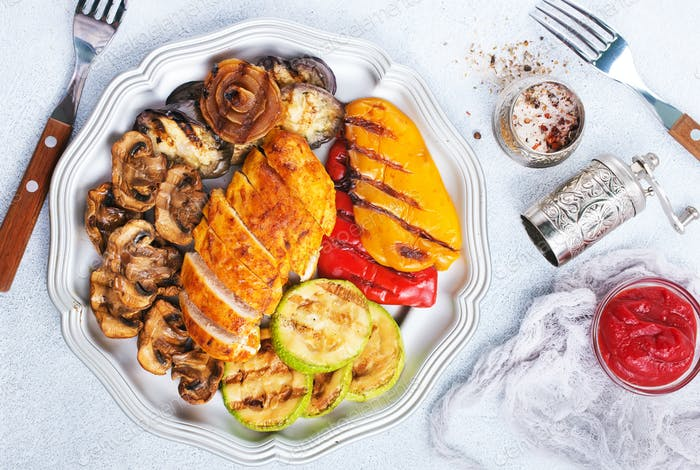 chicken barbecue and grilled vegetables