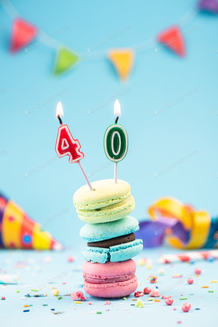 Fortieth 40th Birthday Card with Candle in Colorful Macaroons an