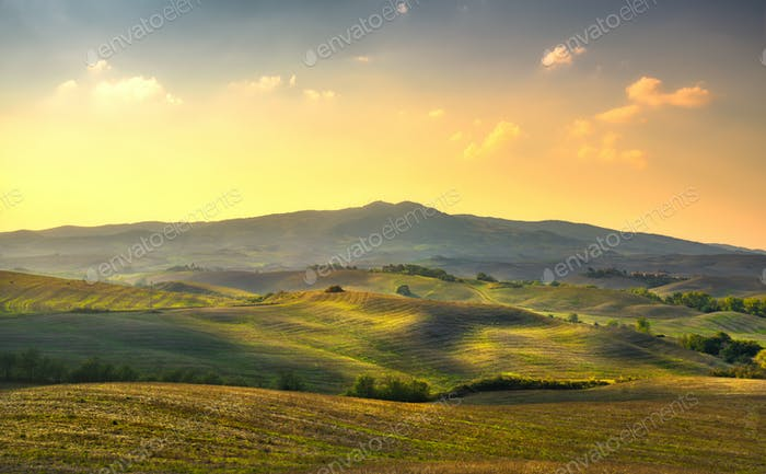 Volterra panorama, rolling hills, trees and green fields at suns