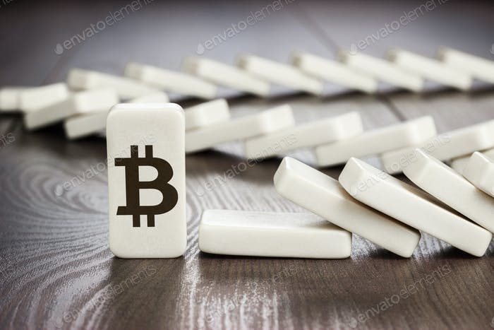 Domino Piece With Bitcoin Symbol Concept