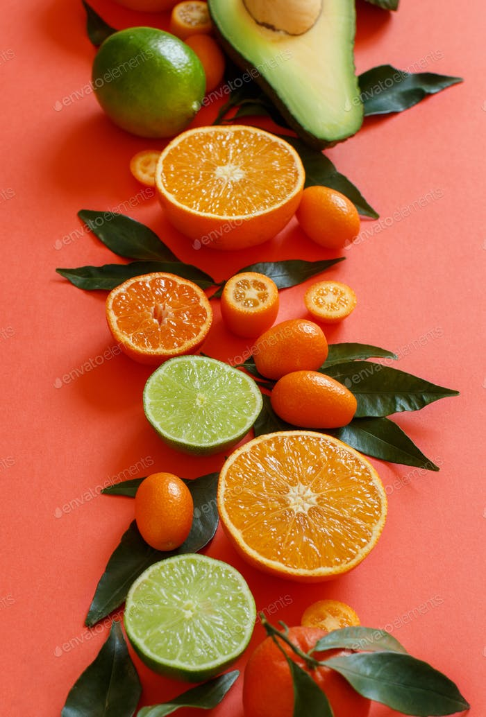 Citrus fruits on a coral red background