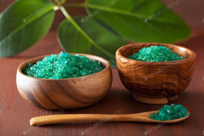 green herbal salt for healthy spa bath