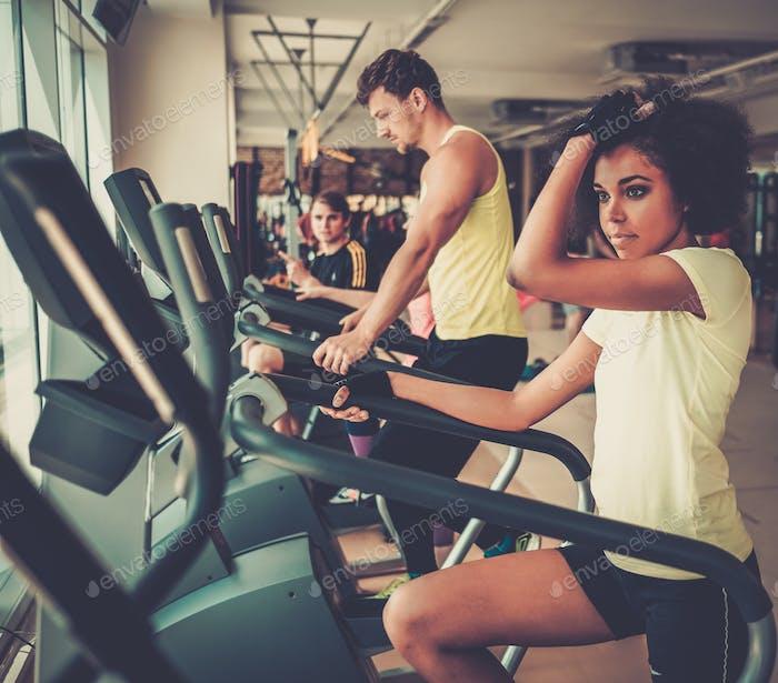 Menschen, die auf einem Cardio-Trainingsmaschinen in einem Fitnessstudio trainieren