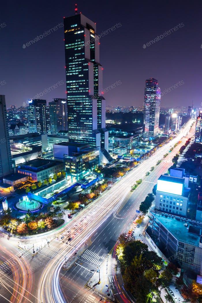 Gangnam District at night