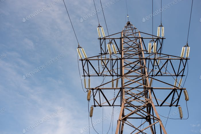 power line support with wires for electricity transmission, energy industry, energy saving