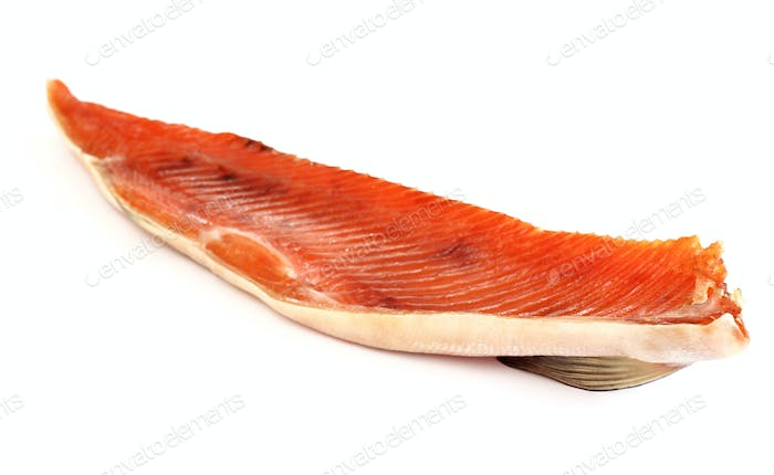 Smoked red fish fillet over white