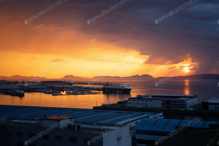 View of a sunset over the leisure port of Vigo, Spain
