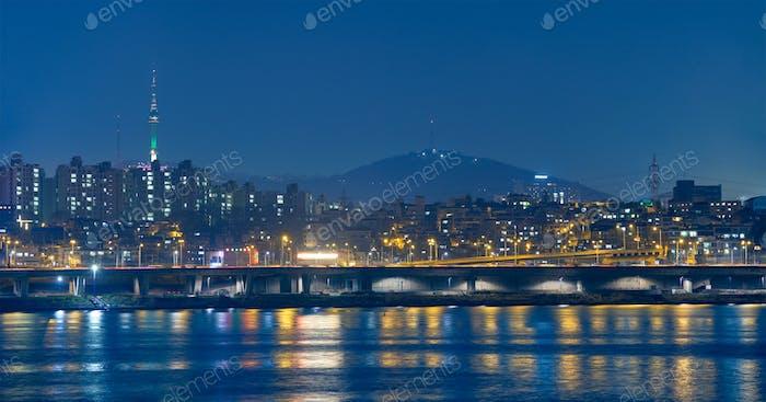 Seoul night view over Han River, South Korea