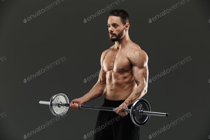 Portrait of a motivated muscular bodybuilder