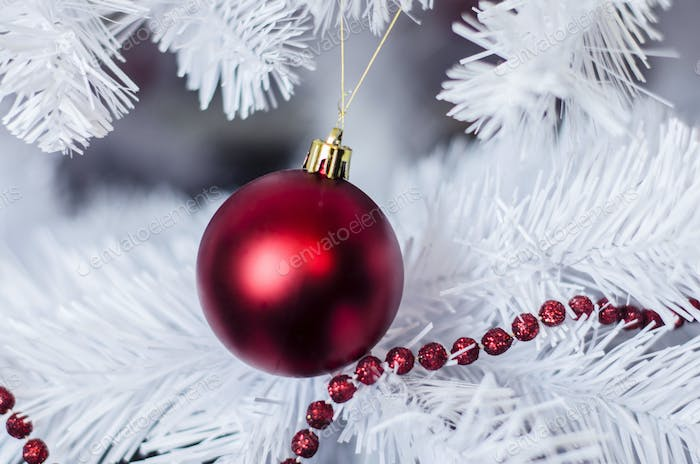testChristmas decoration on a white tree background