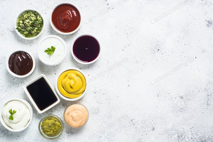 Sauce set assortment - mayonnaise, mustard, ketchup and others o