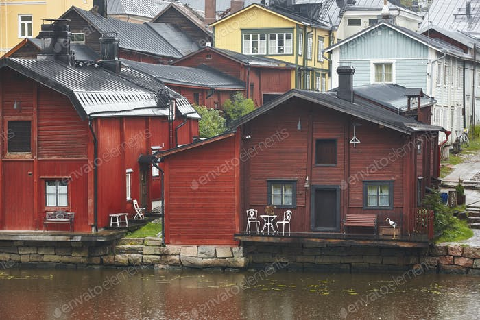 Traditional wooden houses in Porvoo. Finland old town heritage. Tourism